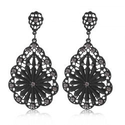Littledesire Black Crystal Rhinestones Flower Earrings