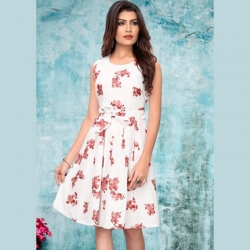 Littledesire Round Neck Floral Print White Dress