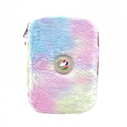 Rainbow Color Faux Rabbit Fur With Light Pencil Case