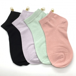 Littledesire Imitation Pearl Women Cotton Socks - 4 Pairs