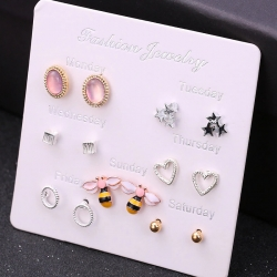 Creative Design Cute Owl Bee Hearts Stud Earrings 7 pcs Set