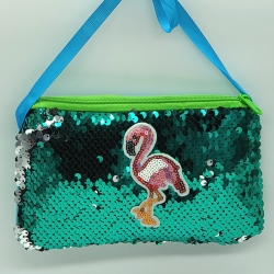 Sequins Glitter With Back Side Faux Fur Crossbody Sling Bag 4 inch
