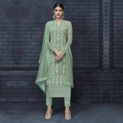 Embroidered Chikankari Straight Kurta & Bottom With Dupatta