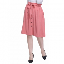 Solid Printed With Front Button Skirt