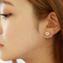 Fashion Crystal White Flower Clips Stud Earrings