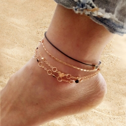 Fashion Women Multi-Layer Love Heart Charm Chain Foot Anklet 4pcs