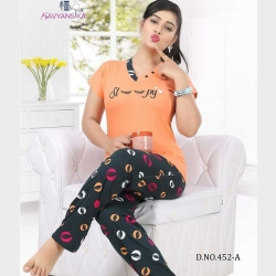Printed Top and Pajama Set for Women