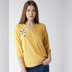 Mustard Embroidered Blouson Chiffon Top