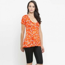 Women Frock Style Orange & Black Top With Shorts Swimsuit
