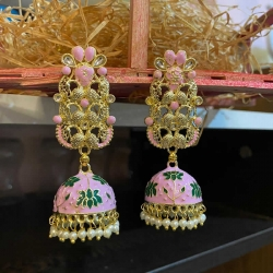 Classic Jhumka Pearl Stone Earrings
