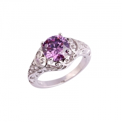 Littledesire Purple & White CZ Sterling Silver 925 Ring
