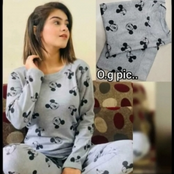 Cartoon Print Full Sleeve Cotton Top & Pajama Night Suit