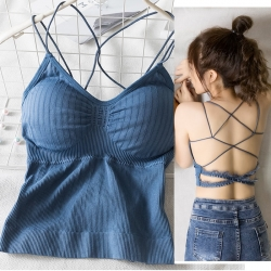Lace Hollow Out Strappy Cross Halter Back  Bralette Top