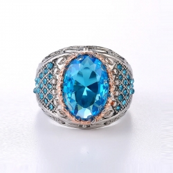 Classic Sky Blue Oval CZ  Rings