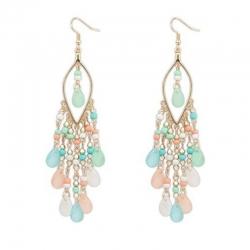 Colorful Beads Bohemian Drops Dangle Tassels Earrings
