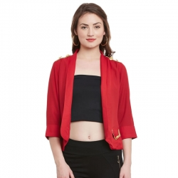 Solid Print Half Sleeve Red Jacket