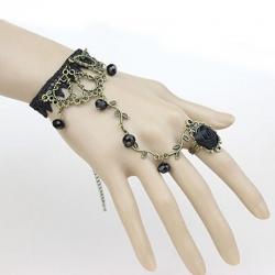 Black Lace Flower Vine Beads Bracelet With Rose Ring