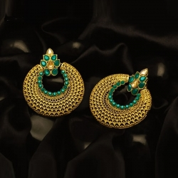 Golden Plated Round Chandbali Earrings