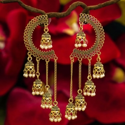 Golden Plated Multi-Layer Ear Cuff Jhumka Earrings