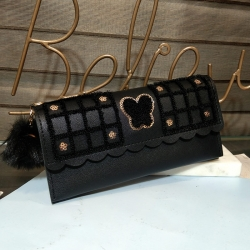 Sequins Zipper Puff Ball PU Leather Clutch Wallet
