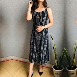 Floral Print A-Line Sleeveless Khadi Pure Cotton Dress