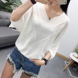 Solid Hollow Out Loose Waist Length Poncho Top