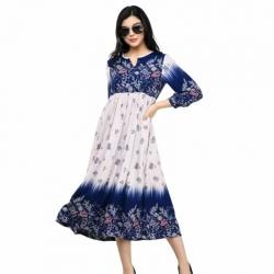 Fashion Rayon Floral Print Midi Dress