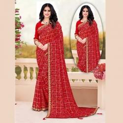 Check Printed Georgette Bandhani Saree