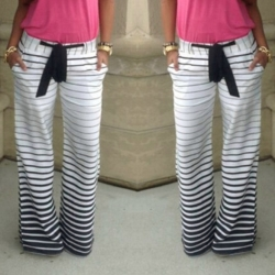 New Fashion Lady Women's Joggers Sport Trousers Striped Long Pants