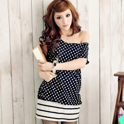 Korean Stretch Cotton Lovely Dot Hem Stripe Mini Long Top Dress