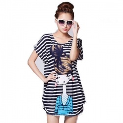 Beautiful Lady Striped Loose Top