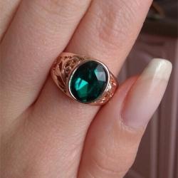 Crystal Green Gem Gold Ring