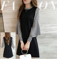 Fashion Streaks Spliced Thin Sleeve Dress