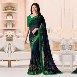 Green Georgette Printed Saree with Bangalori Blouse