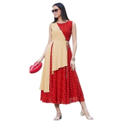 Red Georgette Printed Designer Kurta