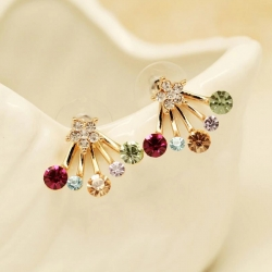 Exquisite Colorful Crystal Parties Stud Earrings