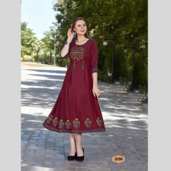 Littledesire Floral Embroidered Stitched Kurta