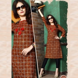 Littledesire Round Neck Printed Straight Cotton Kurta