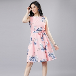 Littledesire Boat Neck Floral Print Pink Dress