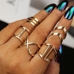 5 Pcs Set Classic Gold Plated Midi Rings