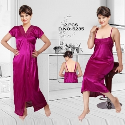 Littledesire V- Neck Lace Nightwear With Robe Set