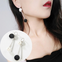 Littledesire Fashion Statement Black Round Acrylic Earrings
