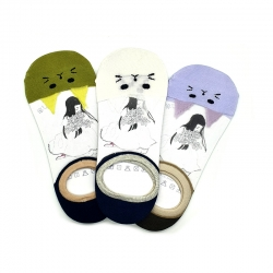 Transparent Cat Colorful Shallow Ship Socks 3 Pairs