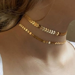 Simple Golden Chain Leaf Coin Bead Choker Necklace