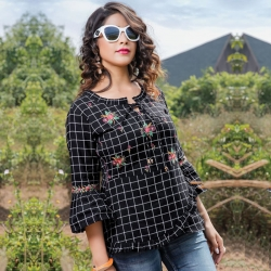 Black Short Kurti Floral Embroidered Top