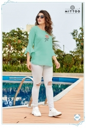 Bell Sleeve Round Neck Floral Embroidered Stylish Top