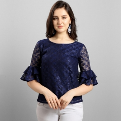 Women Bell Sleeve Round Neck High Quality Lace Top
