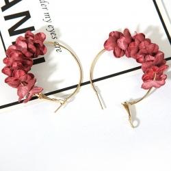 Flower Petal Alloy Circle Hoop Earrings
