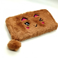 Faux Fur Design Zipper Clutch Wallet