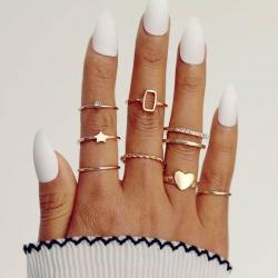 8 Pcs/Set Vintage Ring Geometric Metal Charm Joint Ring Sets